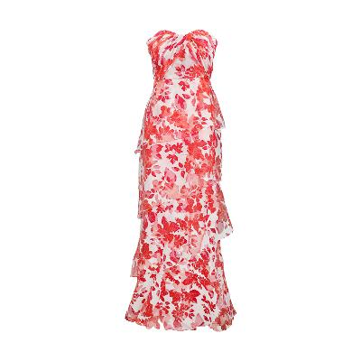 bold floral pattern long evening gown scarlet
